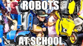 Transformers show at school. Kids events entertainment robot