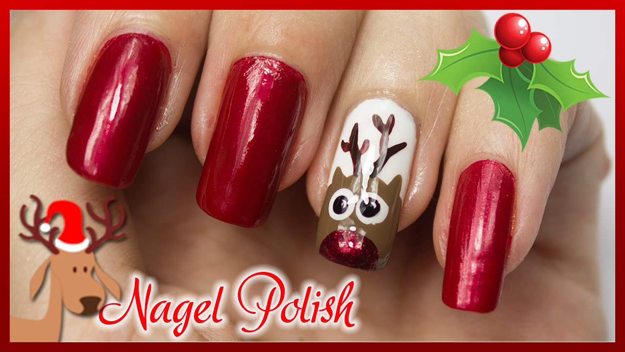 n gel f r weihnachten rudolf mit der roten nase nageldesign tutorial youtube. Black Bedroom Furniture Sets. Home Design Ideas