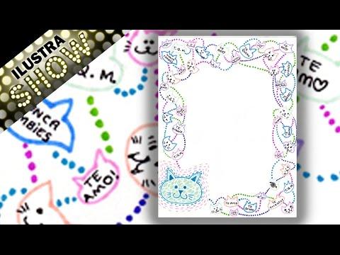 Como decorar carta de amor de gatos dibujar tutorial - Como decorar un dibujo ...