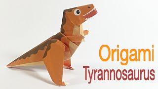 TYRANNOSAURUS REX (T-REX) TUTORIAL | EASY DINOSAUR ORIGAMI