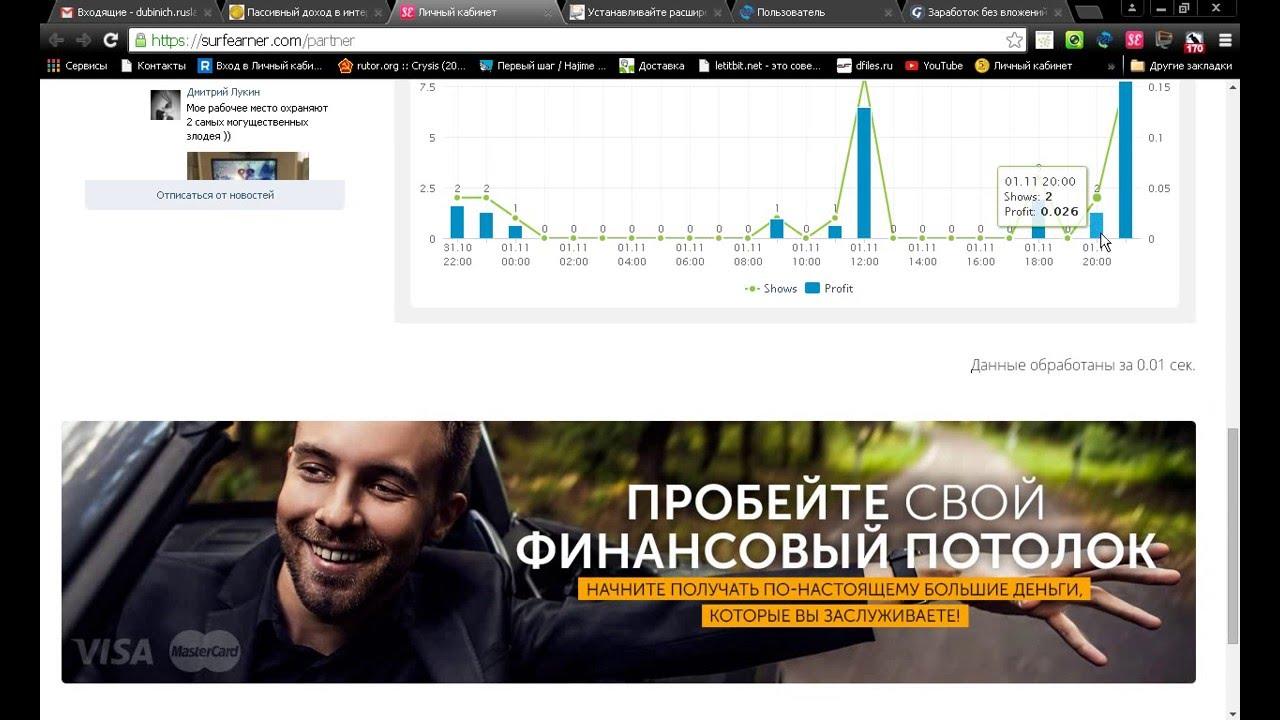 Автоматический заработок в интернете. Расширения SerfEarner, P2P, Teaser, JobPlant