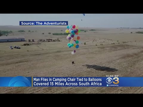 Man Flies In Camping Chair Tied To Balloon