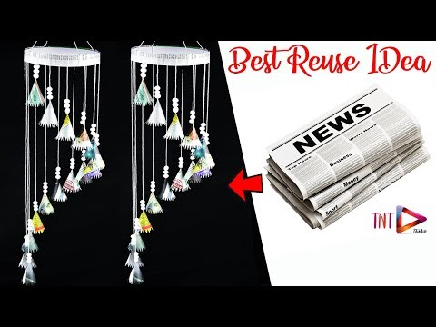 How To Make Newspaper Wind Chime | Newspaper Wall Hanging | Newspaper Home Decor Craft
