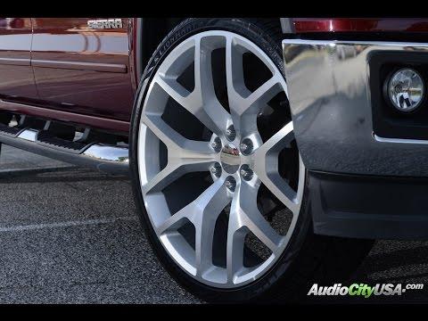 Gmc Snowflake Wheels >> GMC Sierra 2014 on 26 Sierra Replica wheels Silver - YouTube