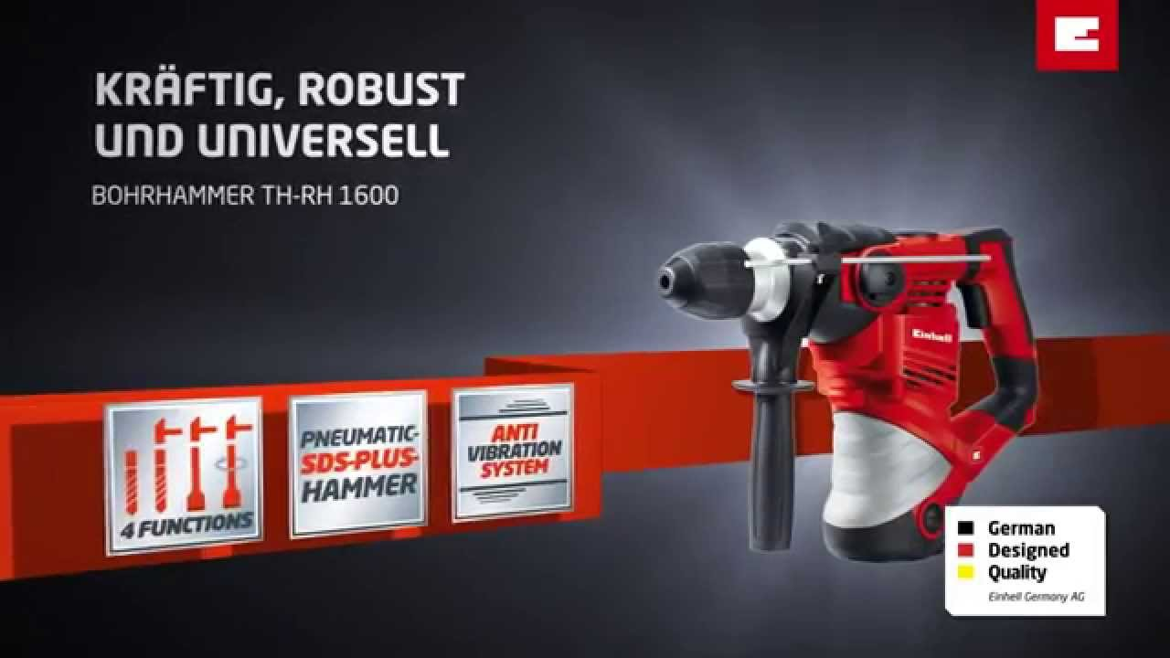 einhell th-rh 1600 bohrhammer - youtube