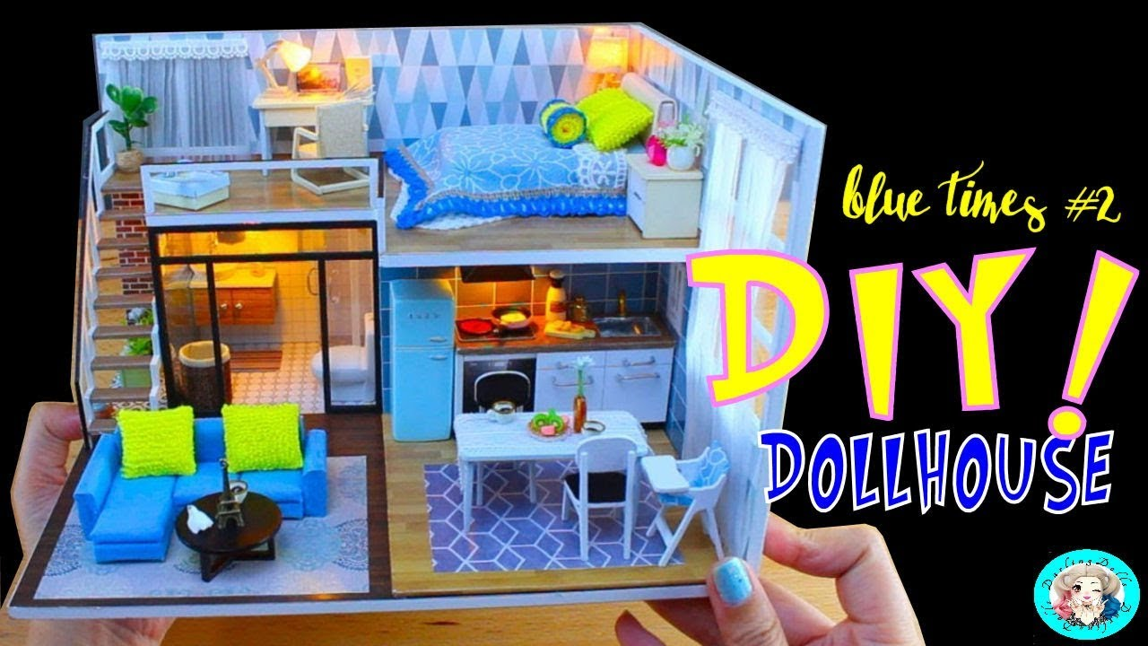 DIY Dollhouse With Furniture Music Light Cover PART 2 CuteRoom L 023 Blue Time