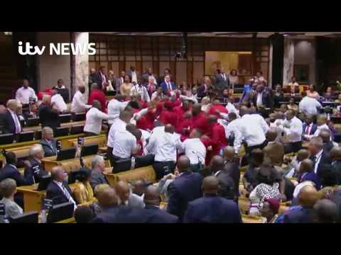South African parliament erupts into fistfight