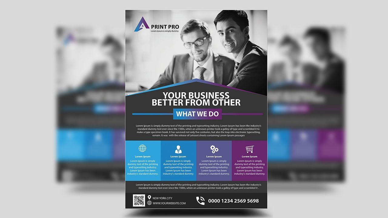 modern corporate flyer design photoshop tutorials youtube