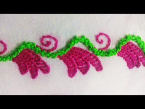 Hand embroidery,  modern border line design,  border design tutorial thumbnail
