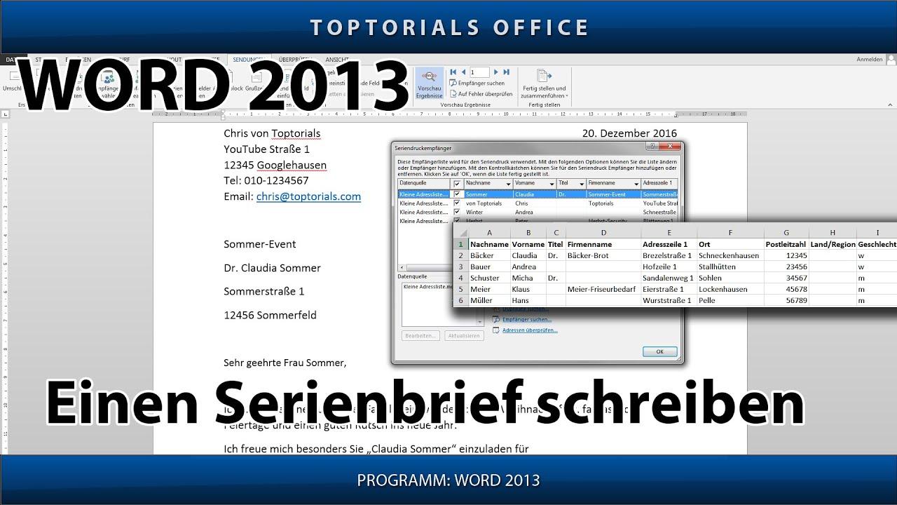 Serienbrief Ganz Einfach Mit Microsoft Word Und Excel Erstellen