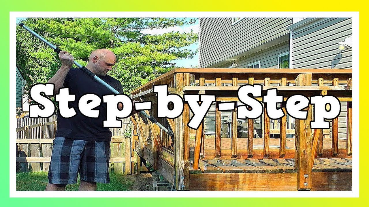 How to clean and stain a wood deck youtube baanklon Images