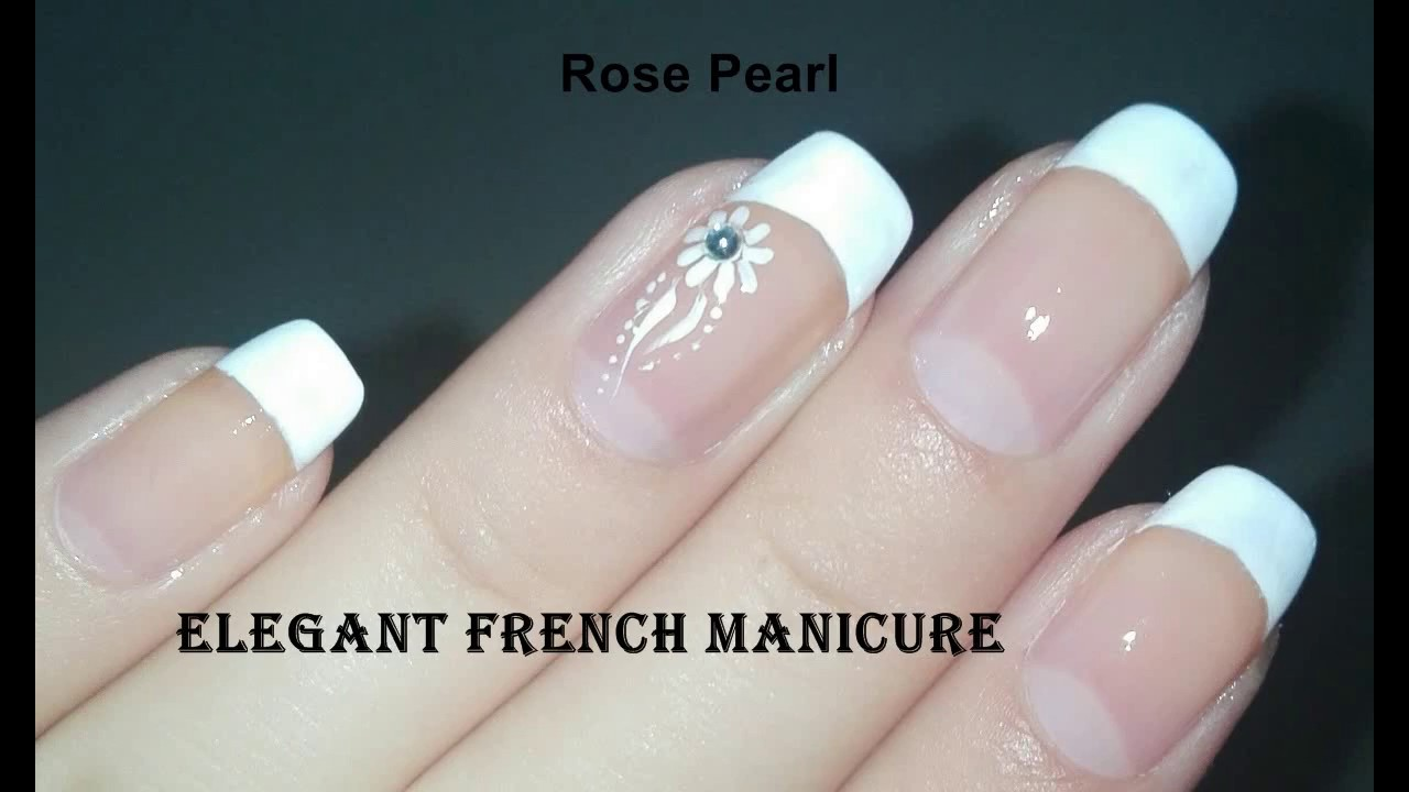 Easy DIY Elegant French Accent Nail Art Tutorial (FRENCH MANICURE ...