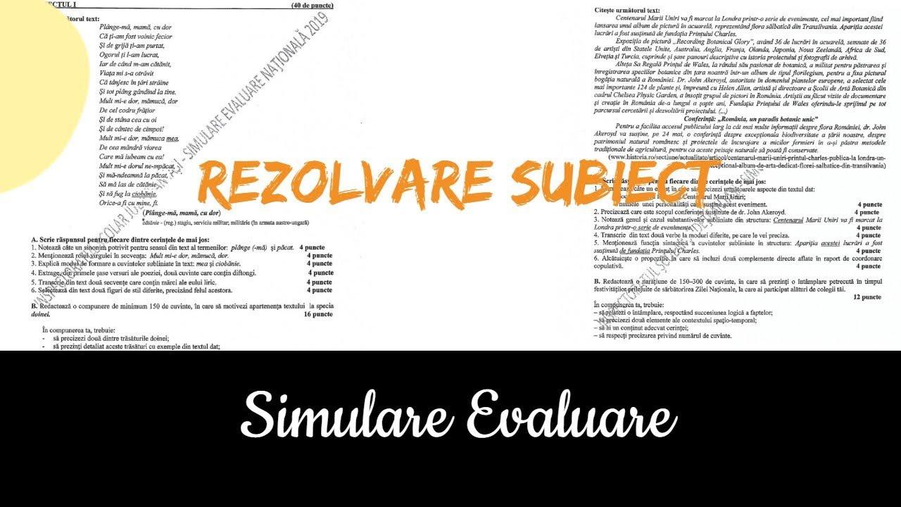 Simulare Clasa A 8 A 2019 Romana Update: Subiecte Simulare Clasa A 7A Romana 2019