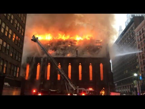 24 HOURS LATER & FDNY ON SCENE OF 4TH ALARM FIRE AT THE SERBIAN ORTHODOX CATHEDRAL OF ST. SAVA.