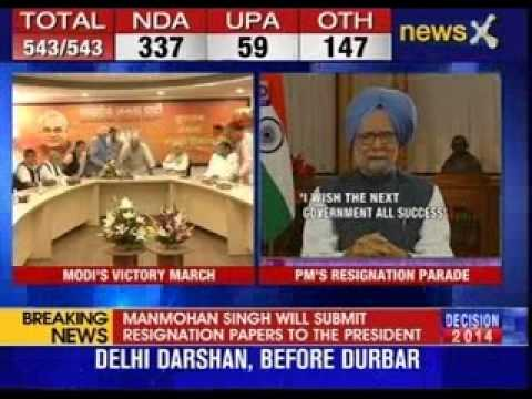Manmohan Singh submits his resignation to the President