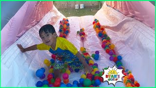 Ryan Pretend play with Inflatable Bounce House Slip N' Slide!!!