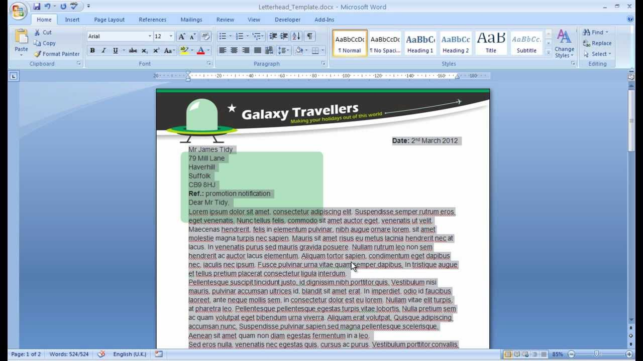 W07008 microsoft basics creating a template for a business w07008 microsoft basics creating a template for a business letter youtube spiritdancerdesigns Image collections