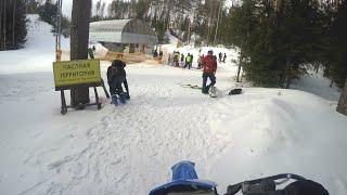 Мотоциклист заехал на горнолыжный курорт Игора по склону