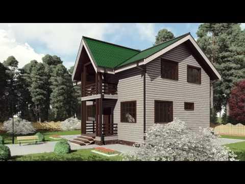 Проект каркасного дома 7*9 с открытым балконом и крыльцом от Строй и Живи