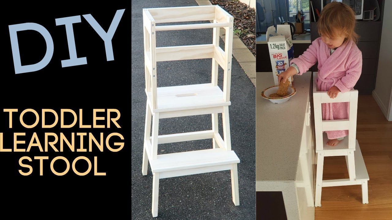 Diy toddler learning stool montessori kitchen tower for Ikea montessori hack