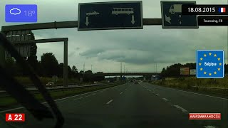 Driving from Lille (France) to Gent (Belgium) 18.08.2015 Timelapse x4