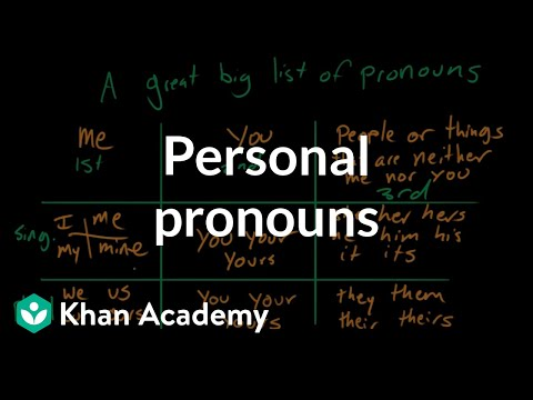 Personal pronouns | The parts of speech | Grammar | Khan Academy