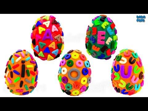Learn-AEIOU-Letter Vowel AEIOU  Surprise Egg Lesson Vowels The Alphabet Vowel