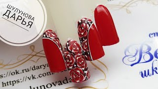 🌹 Как рисовать розы на ногтях гель лаком Потрясающий цветочный дизайн ногтей
