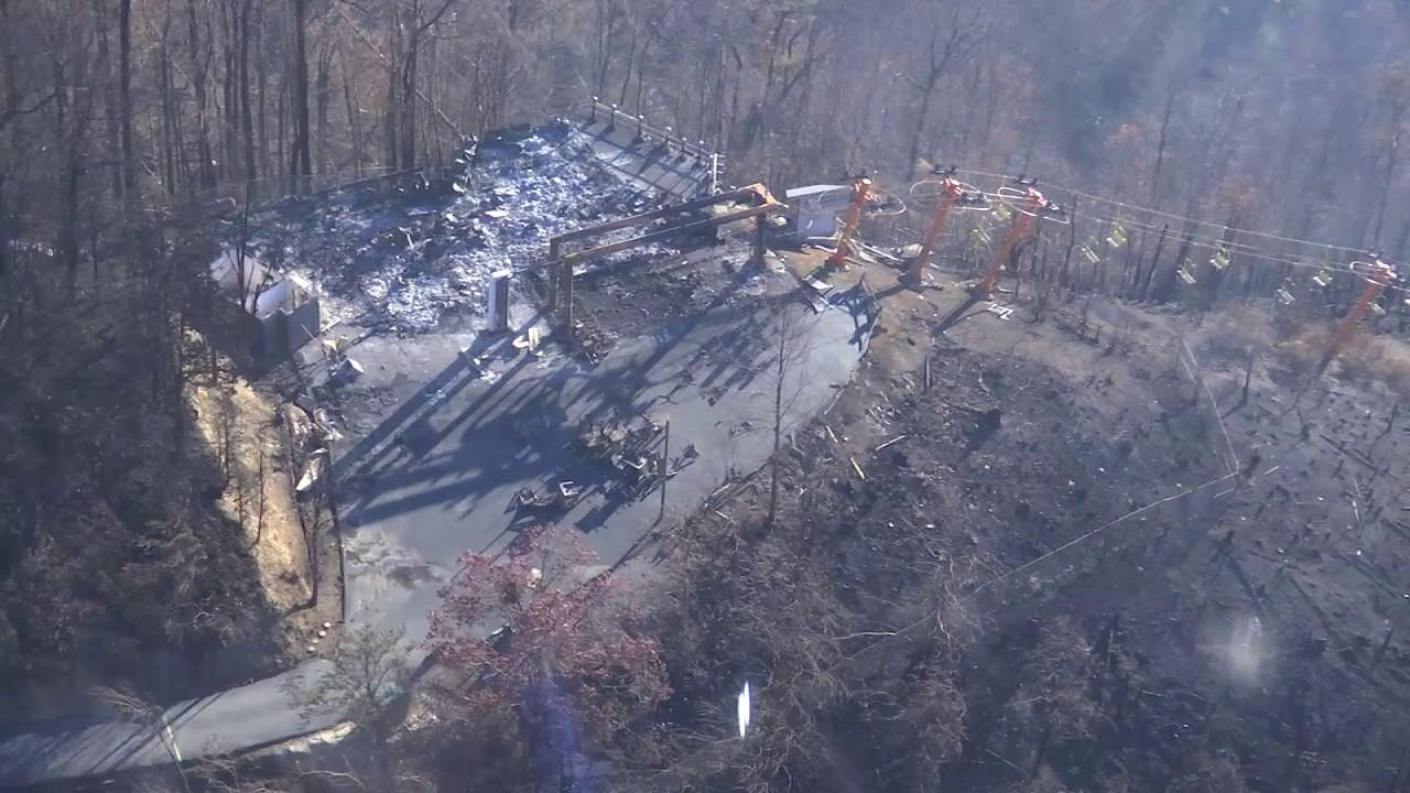 Gatlinburg Sky Lift Damaged In Wildfires Youtube