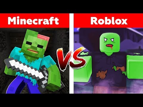 MINECRAFT VS ROBLOX! ZOMBIE ATTACK! Minecraft or roblox animation thumbnail