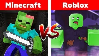 MINECRAFT vs ROBLOX! ZOMBIE ATTACK CHALLENGE!