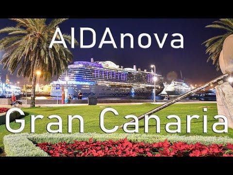 AIDAnova in Las Palmas, Gran Canaria. From arrival to departure