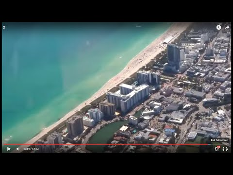 Tampa - Miami flight: Gulf of Mexico, Atlantic Ocean & South Miami Beach final approach 2016-02-17