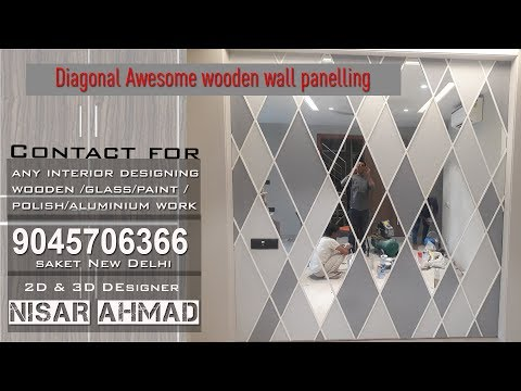 Diagonal wooden wall panelling with color and Glass
