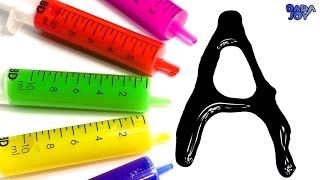 Aprender el alfabeto con jeringuillas de Slime | Aprender jugando| Abecedario en Español