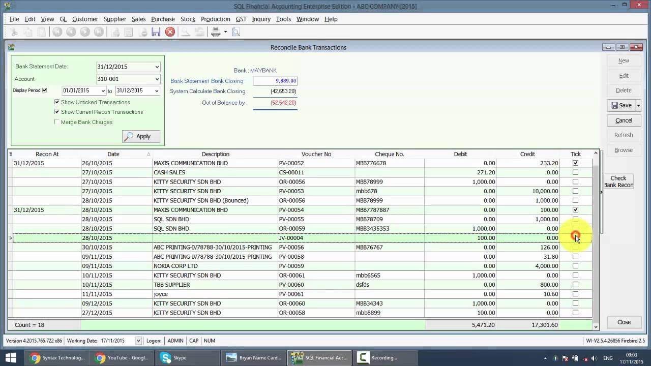 sql accounting system gst 044 bank reconciliation