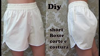 Short boxer com cós de elástico
