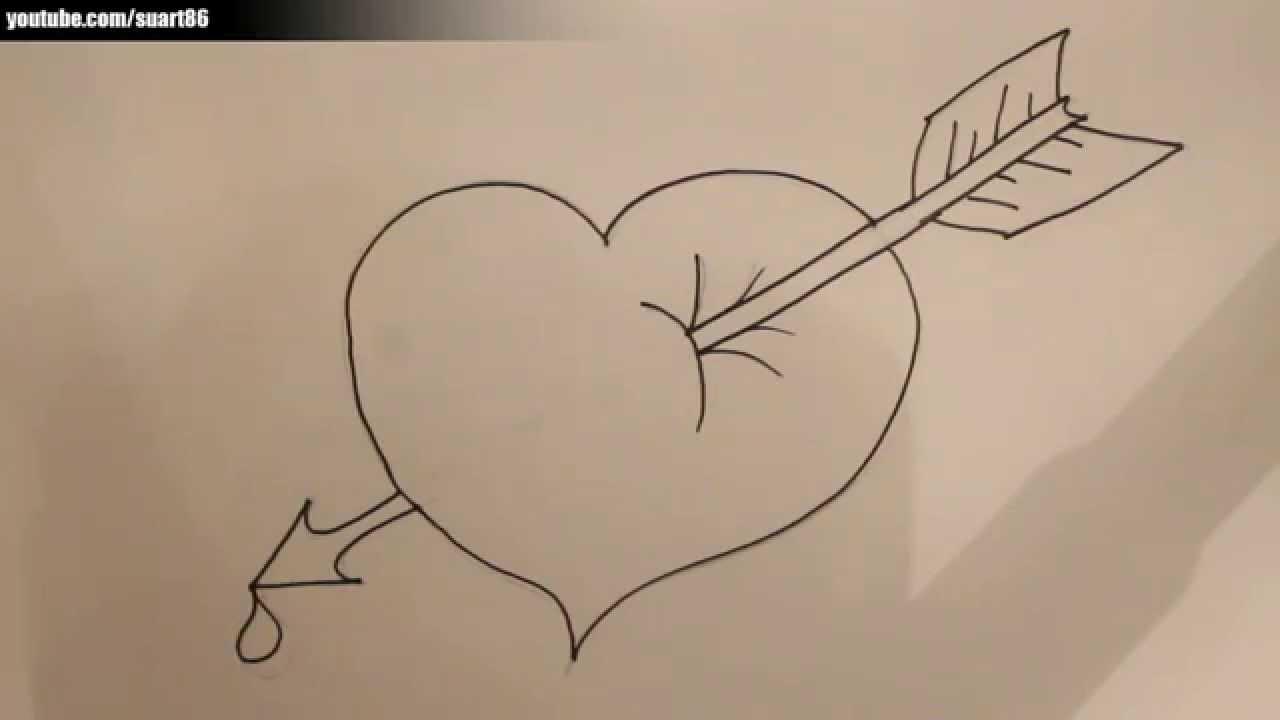 Como Dibujar Un Corazon Con Una Flecha Youtube