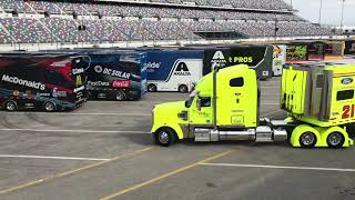 NASCAR Monster Energy Cup Series haulers arrive at Daytona International Speedway