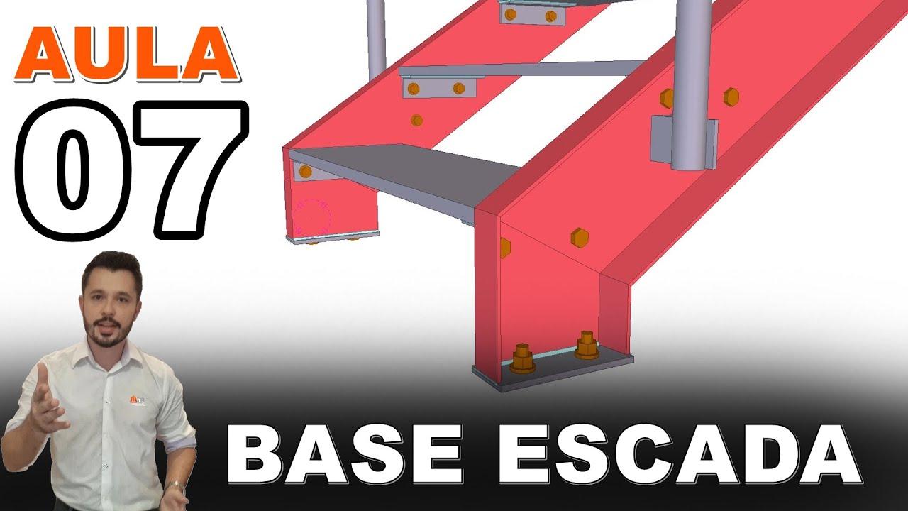 Mezanino - Curso Tekla Structures - Aula 07 - Ligações do Patamar e Base da Escada