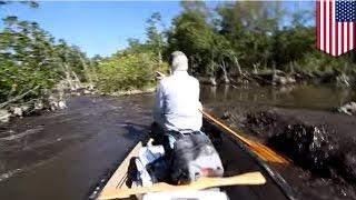 Мужик подплыл слишком близко к крокодилам и испугался