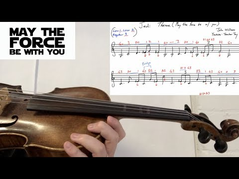 How to Play The Force Theme Binary Sunset Jedi Theme on Violin Sheet Music w. Violin Tabs