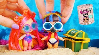 LOL Surprise Dolls Go Scuba Diving and Find Buried Treasure with Playmobil Sets & Unboxings