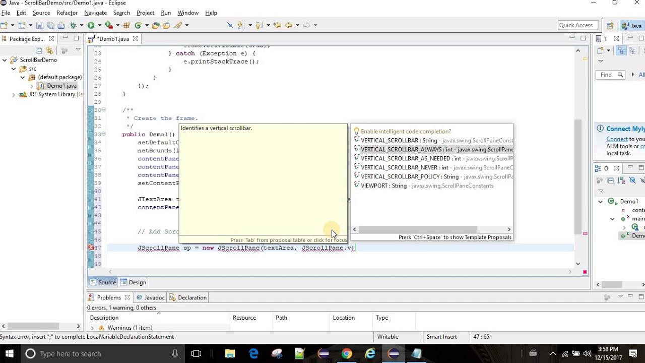 Adding Scrollbar to JTextArea