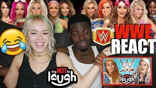 WWE Superstars React To Try To Watch This Without Laughing Or Grinning REACTION