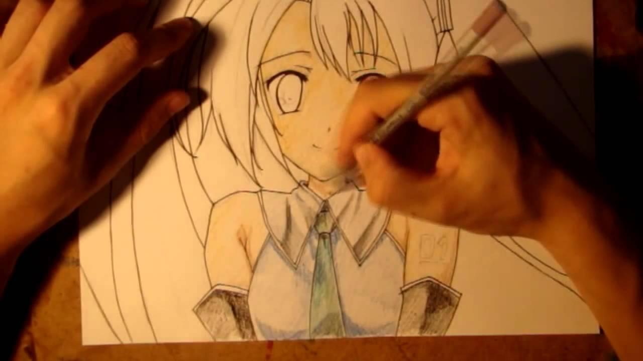 Как нарисовать Аниме Хатсуне Мику Hatsune Miku - YouTube