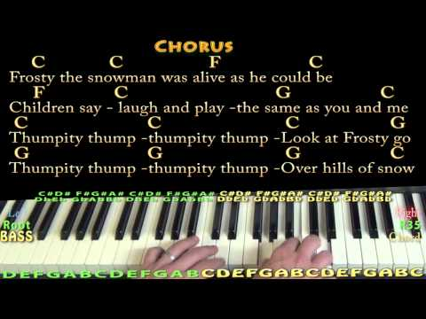 Frosty the Snowman - Piano Cover Lesson in C with Chords/Lyrics