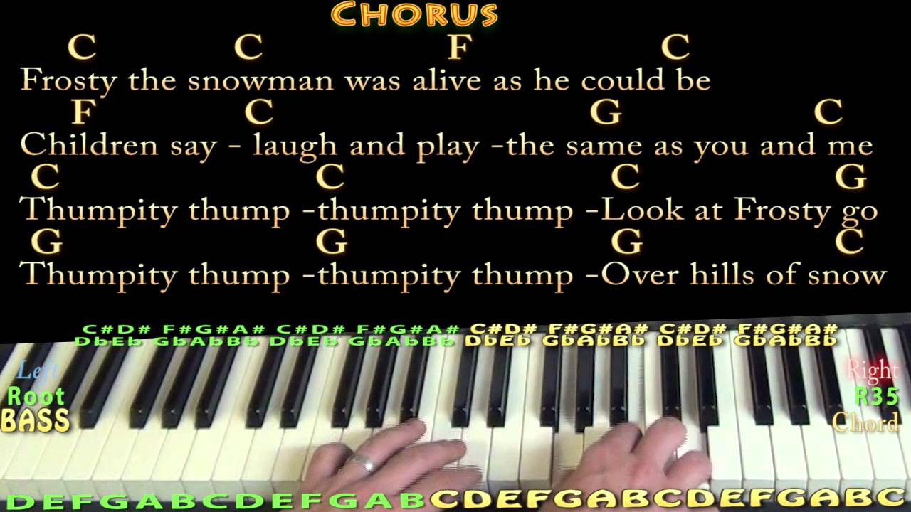 frosty the snowman piano cover lesson in c with chordslyrics