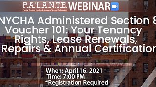 NYCHA Administered Section 8 Voucher 101- Webinar