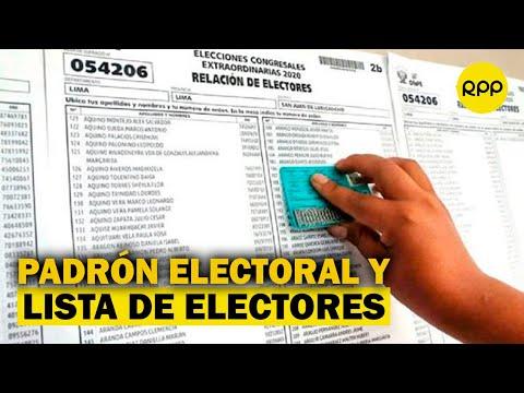 ¿Cuál es la diferencia entre el padrón electoral y la lista de electores?